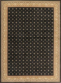 Black Geometric Aubusson Turkish Oriental Area Rug 8x11
