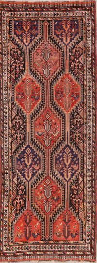 Vintage Geometric Red Rust Lori Persian Runner Rug 3x10