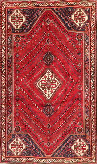 Vintage Tribal Red Abadeh Persian Wool Area Rug 5x9