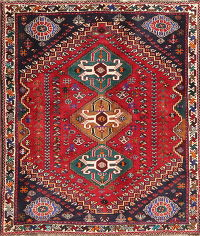 Tribal Geometric Red Abadeh Nafar Persian Wool Rug 4x5
