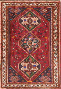 Vintage Tribal Red Shiraz Persian Wool Rug 4x5