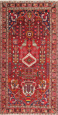 Vintage Tribal Red Bakhtiari Persian Area Rug 5x10