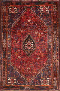 Vintage Tribal Red Abadeh Persian Wool Area Rug 6x9