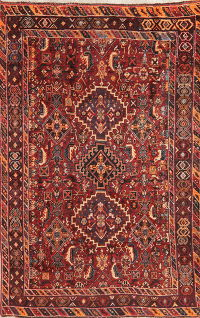Antique Tribal Red Kashkoli Persian Wool Rug 5x7