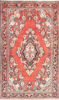 Vintage Floral Red Lilian Persian Wool Rug 4x7