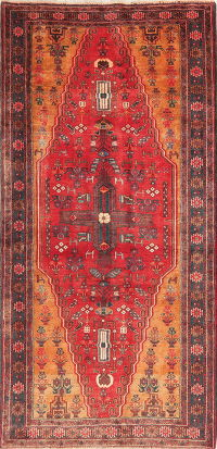 Vintage Tribal Red Zanjan Persian Wool Rug 4x8