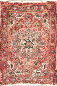 Vintage Floral Red Heriz Persian Wool Rug 4x5
