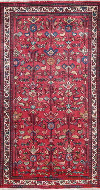 All-Over Floral Red Bakhtiari Persian Wool Rug 4x7