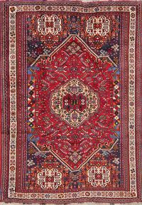 Tribal Geometric Red Abadeh Persian Wool Rug 5x7