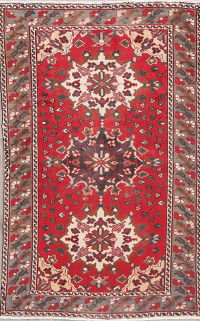 Vintage Geometric Red Bakhtiari Persian Wool Rug 4x7