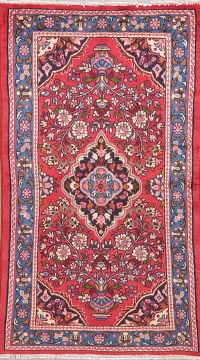 Floral Red Lilian Persian Wool Rug 3x6