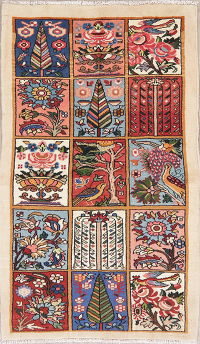 Animal Pictorial Patch-Work Bakhtiari Persian Wool Rug 4x6