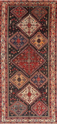 Pre-1900 Antique Tribal Bakhtiari Persian Wool Rug 6x13