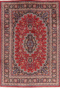 Vintage Floral Red Mashad Persian Wool Area Rug 6x9