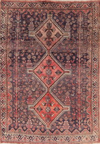 Antique Tribal Geometric Shiraz Persian Wool Area Rug 6x9