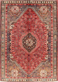 Vintage Tribal Red Abadeh Persian Wool Area Rug 7x10