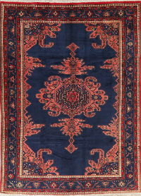 Geometric Navy Blue Hamedan Persian Wool Area Rug 7x10