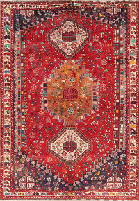 Vintage Tribal Kashkoli Shiraz Persian Area Rug 7x10