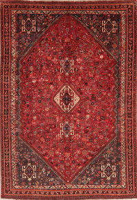 Vintage Red Tribal Abadeh Persian Wool Area Rug 7x10