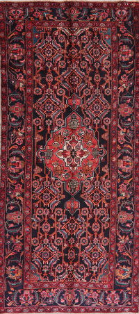 Black Floral Bibikabad Persian Wool Runner Rug 4x10