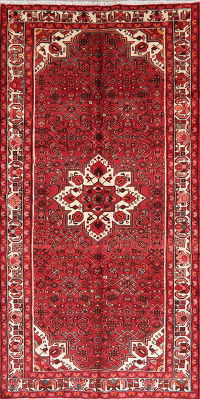 Geometric Red Hamedan Persian Wool Rug 5x11