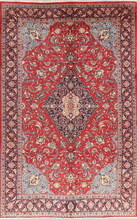Vintage Floral Red Mahal Persian Wool Area Rug 7x11