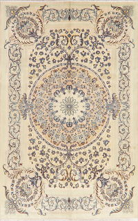 Victorian Style Floral Kashan Persian Wool Area Rug 7x10