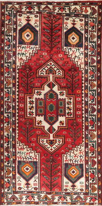 Vintage Tribal Geometric Bakhtiari Persian Wool Rug 5x10