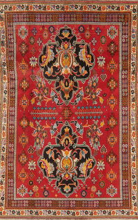 Vintage Floral Red Kashkoli Persian Wool Area Rug 5x8