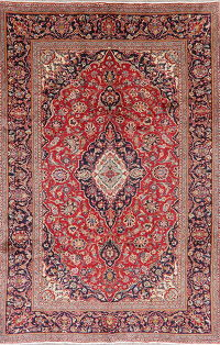 Vintage Floral Red Kashan Persian Wool Area Rug 7x10