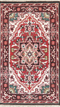 Geometric Red Heriz Indian Wool Rug 3x5