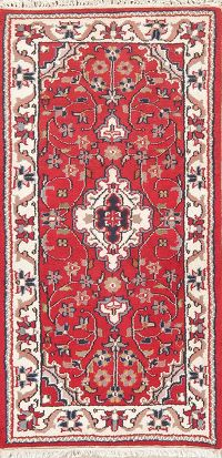 Floral Red Mahal Indian Wool Rug 2x5