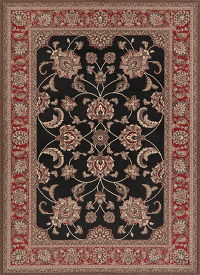 Black Floral Agra Turkish Oriental Area Rug 7x9