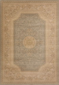 Grey Floral Aubusson Turkish Oriental Area Rug 7x9
