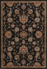 Black Floral Modern Turkish Oriental Area Rug 5x8