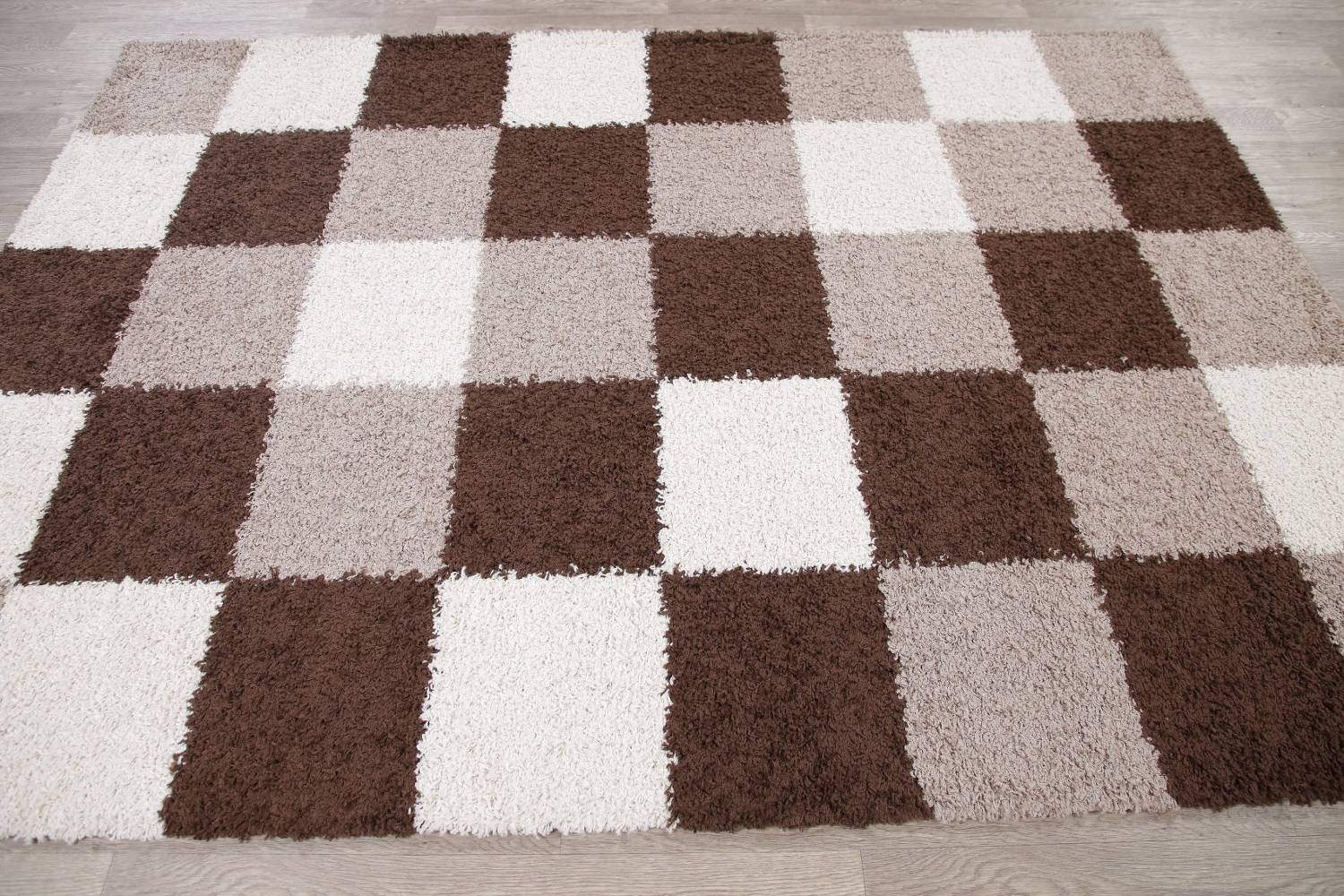Checked Shaggy Turkish Oriental Rugs image 9
