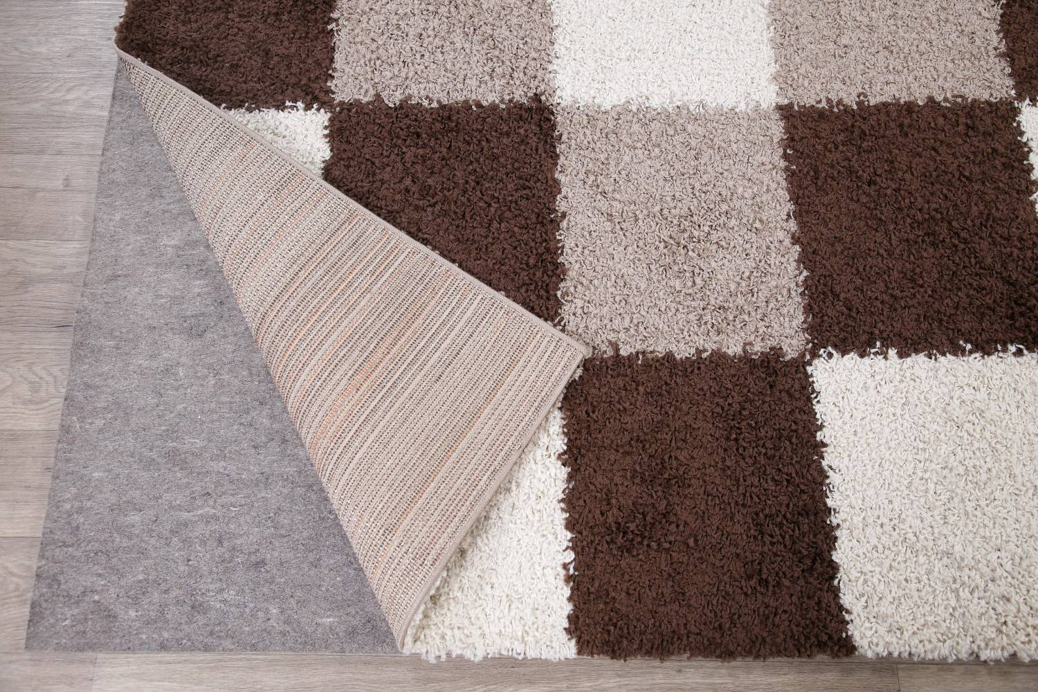 Checked Shaggy Turkish Oriental Rugs image 8