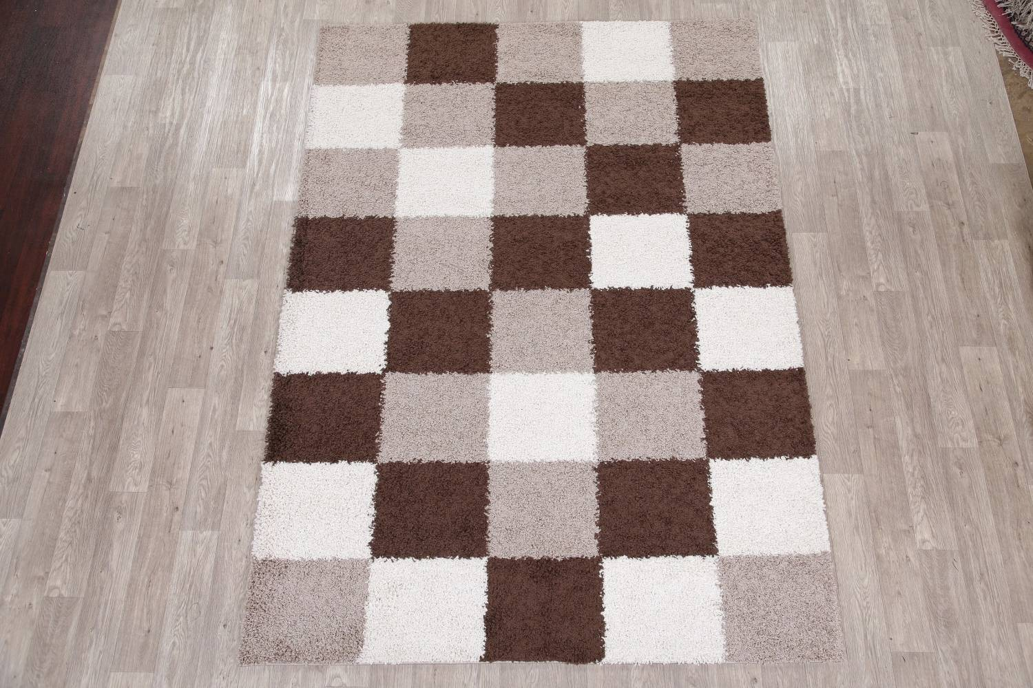 Checked Shaggy Turkish Oriental Rugs image 27