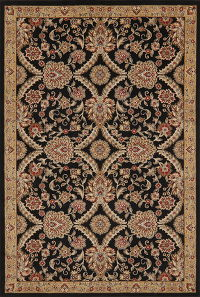 Black Floral Agra Turkish Oriental Area Rug 5x7