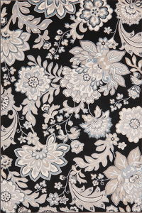 Floral Black Modern Turkish Oriental Area Rug 5x7