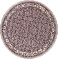 Geometric Gray Bidjar Indian Wool Rug 8x8 Round