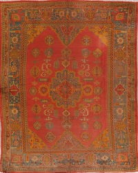 Pre-1900 Antique Vegetable Dye Oushak Turkish Area Rug 9x11