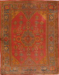 Pre 1900 Vegetable Dye Oushak Turkish Area Rug 9x11