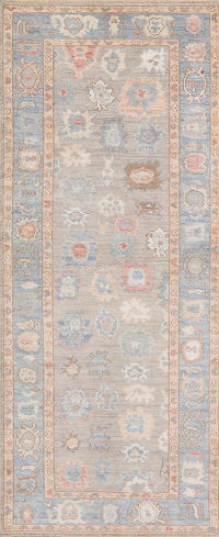 All-Over Gray Blue Oushak Turkish Runner Rug 3x10