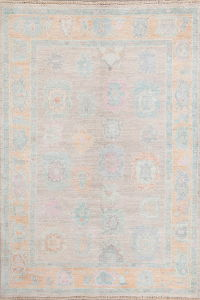 All-Over Gray Oushak Turkish Oriental Area Rug 4x6
