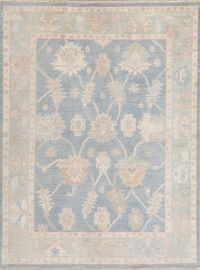 Blue Floral Oushak Turkish Oriental Area Rug 5x7