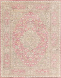 Animal Pictorial Pink Oushak Turkish Oriental Area Rug 9x12