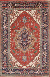 Geometric Red Heriz Indian Oriental Wool Area Rug 6x9