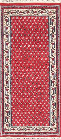 Geometric Red Botemir Indian Wool Runner Rug 2x5