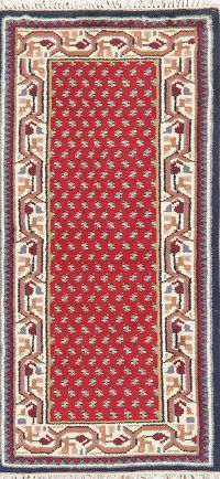Red Geometric Botemir Indian Wool Rug 2x4